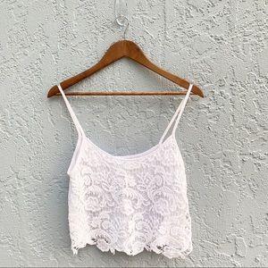 LA Hearts White Crochet Cami Crop Top Size M